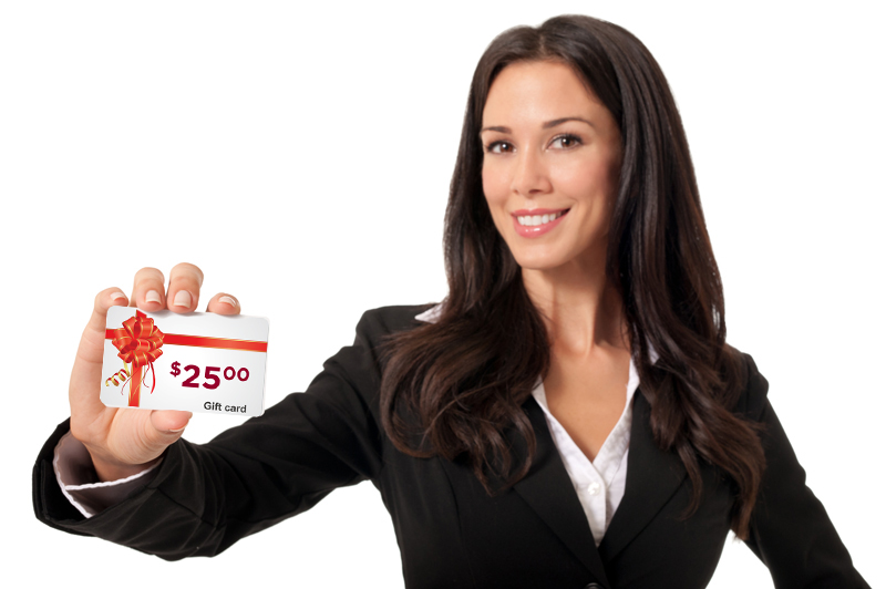 Woman hold a gift card